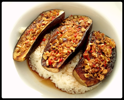 Aubergines over rice.  No mods to the recipe this time!